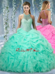 Beautiful Halter Top Beaded and Ruffled Sweet 16 Gown in Mint