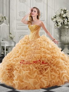 Best Really Puffy Chapel Train Quinceanera Gown with Ruffles and Colorful Beading