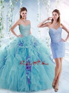 Cheap Beaded Bodice and Ruffled Detachable Sweet 16 Dresses in Aquamarine