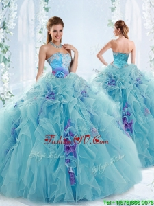 Gorgeous Applique and Ruffled Detachable Quinceanera Dresses in Aqua Blue