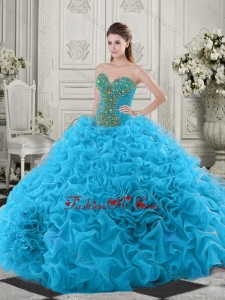 Latest Beaded and Ruffled Baby Blue Quinceanera Dress with Chapel Train