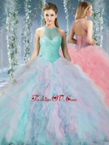 Lovely Beaded Decorated Halter Top Rainbown Quinceanera Dress in Organza
