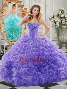 New Style Organza Lavender Sweet 16 Dress with Beading and Ruffles