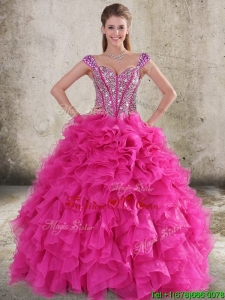 Perfect Ruffled and Beaded Bodice Straps Hot Pink Sweet 16 Dress
