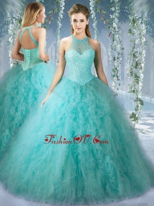 Popular Mint Quinceanera Dress With Beaded Decorated Bodice and High Neck
