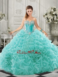 Pretty Really Puffy Aqua Blue Quinceanera Dress with Beading and Ruffles