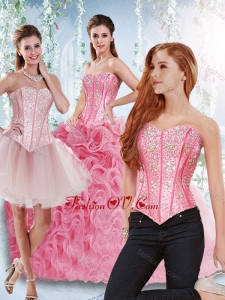 Rolling Flowers Beaded Bodice Detachable Sweet 16 Dresses in Rose Pink
