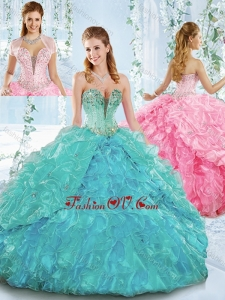 Deep V Neckline Detachable Quinceanera Skirts with Beading and Ruffles