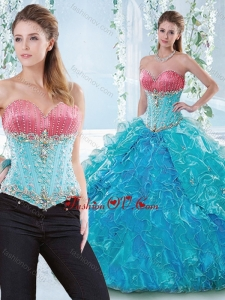 Exclusive Beaded Bodice and Ruffled Detachable Sweet 16 Dress in Organza