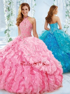 Exquisite Halter Top Beaded Bodice Detachable Quinceanera Skirts in Rose Pink