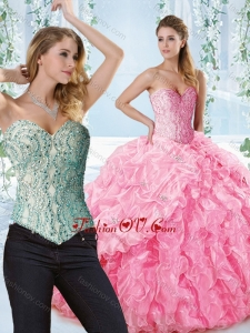 Lovely Rose Pink Detachable Quinceanera Dress with Beaded Bodice and Ruffles