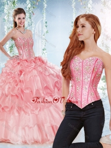 Modest Visible Boning Organza Detachable Quinceanera Skirts with Beaded Bodi