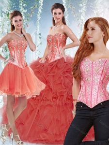 Popular Beaded Bodice and Ruffled Detachable Quinceanera Skirts in Coral Red