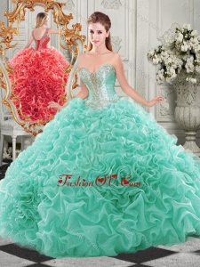 Popular Beaded and Ruffled Aqua Blue Lovely Quinceanera Dresses with Detachable Straps