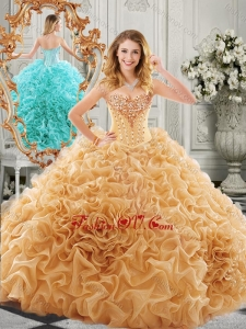 2016 Low Price Big Puffy Beaded and Ruffled Lovely Quinceanera Dresses in Organza