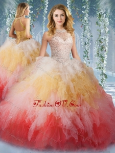 2016 Pretty Halter Top Rainbow Lovely Quinceanera Dresses with Beading and Ruffles