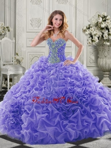 Best Puffy Skirt Beaded and Ruffled Lavender Lovely Quinceanera Dresses in Organza