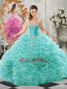 Classical Big Puffy Beaded and Ruffled Modern Quinceanera Dresses in Organza
