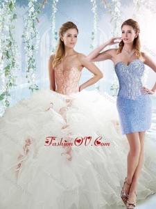 Classical Organza White Detachable Modern Quinceanera Dresses with Beading and Ruffles