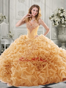 Discount Beaded Bodice and Ruffled Modern Quinceanera Dresses with Chapel Train