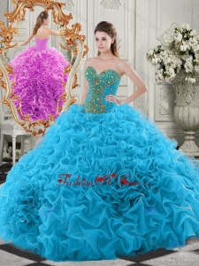 Exclusive Beaded Bodice and Ruffled Sweetheart New style Quinceanera Dresses in Baby Blue