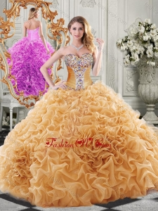 Exclusive Organza Champagne Modern Quinceanera Dresses with Beading and Ruffles