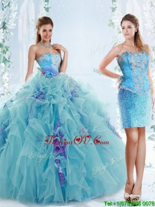 Exquisite Applique Bodice Aqua Blue Detachable Modern Quinceanera Dresses in Organza