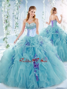 Exquisite Beaded Bust and Ruffled Detachable Modern Quinceanera Dresses in Aqua Blue