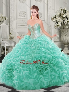 Latest Chapel Train Beaded and Ruffled New style Quinceanera Dresses with Detachable Straps