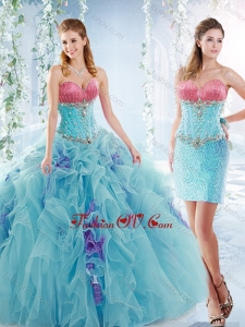 Latest Ruffled and Beaded Detachable Modern Quinceanera Dresses in Aquamarine