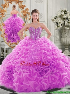 Lovely Puffy Skirt Beaded Bodice and Ruffled Modern Quinceanera Dresses in Fuchsia