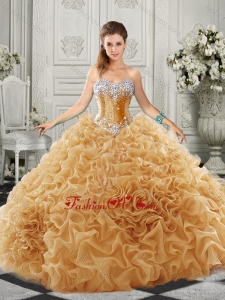 Luxurious Organza Champagne New style Quinceanera Dresses with Beading and Ruffles