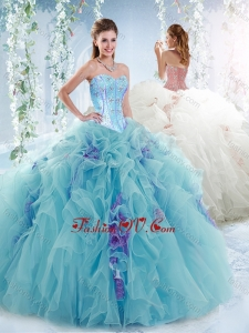 Luxurious Visible Boning Aquamarine Detachable Modern Quinceanera Dresses with Beading