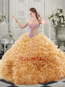 Popular Beaded Bodice and Ruffled Champagne Chapel Train Modern Quinceanera Dresses