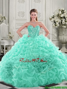 Pretty Puffy Skirt Visible Boning Apple Green New style Quinceanera Dresses with Beading and Ruffles