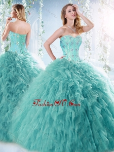 Romantic Beaded and Ruffled Aquamarine Detachable New style Quinceanera Dresses with Brush Train