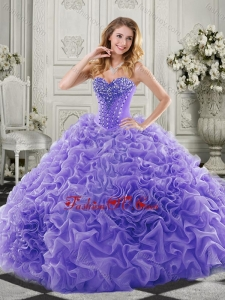 Wonderful Chapel Train Beaded and Ruffled New style Quinceanera Dresses in Lavender