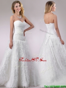2016 Beaded and Ruffled Rolling Flowers Wedding Dress with Brush Train