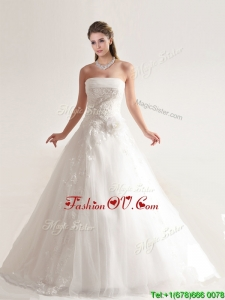 Artistic A-line Wedding Dresses with Hand Crafted and Appliques