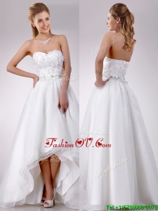 Fashionable High Low Organza Wedding Dress with Beading