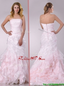 Most Popular Sweep Train Ruffled Light Pink Wedding Dress in Organza 160.92