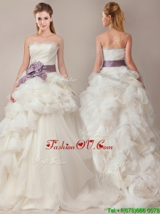 2016 Ball Gown Strapless Sophisticated Ruffled and Sashed Wedding Dresses with Brush Train