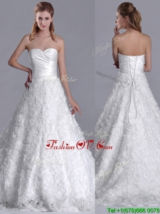 Clearance A Line Brush Train Ruched Wedding Dresses with Rolling Flowers
