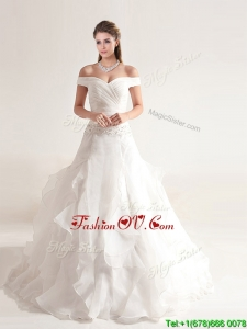 Clearance A Line Off the Shoulder Wedding Dresses with Beading and Ruffles