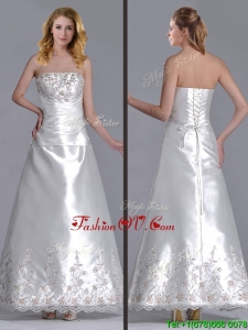 Elegant A Line Strapless Beaded and Embroidered Wedding Dress in Taffeta