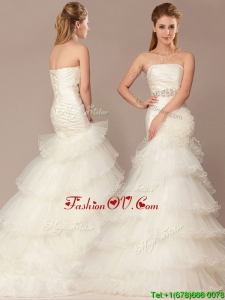 Exquisite Mermaid Beading and Ruffles Layers Wedding Dresses with Brush Train