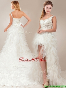 Fashionable One Shoulder High Low Wedding Dresses with Ruffles and Appliques