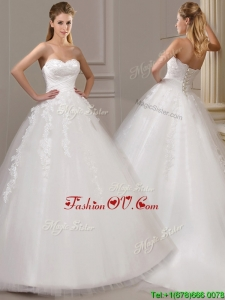 Gorgeous Ball Gown Court Train Wedding Dresses with Appliques and Ruching