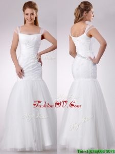 Gorgeous Square Mermaid Applique Side Zipper Wedding Dress in Tulle