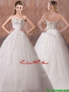 Lovely A Line Sweetheart Wedding Dresses with Beading and Appliques